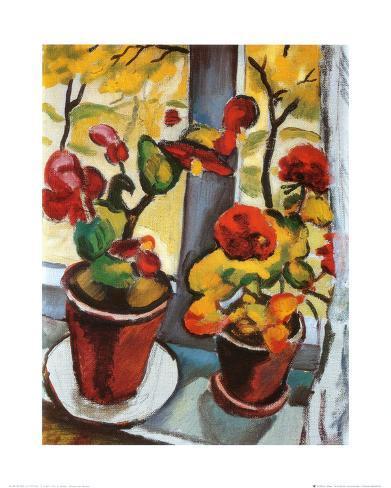 Fleurs à la fenêtre Reproduction d'art