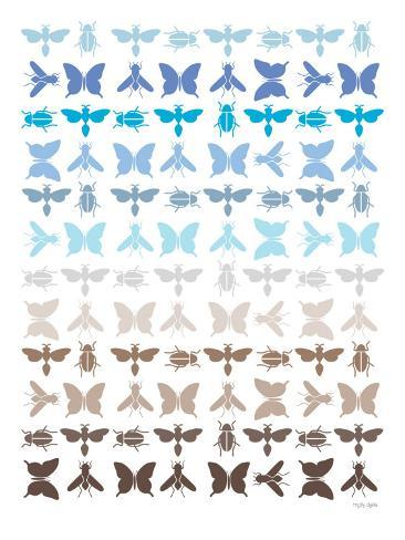 Blue Insects Reproduction d'art