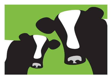 Green Cows Reproduction d'art