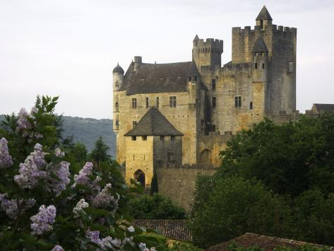 Chateau of Beynac with Lilac Bush in Foreground Reproduction photographique