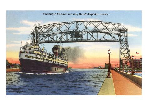 Bateau à vapeur, port supérieur de Duluth, Minnesota Reproduction d'art