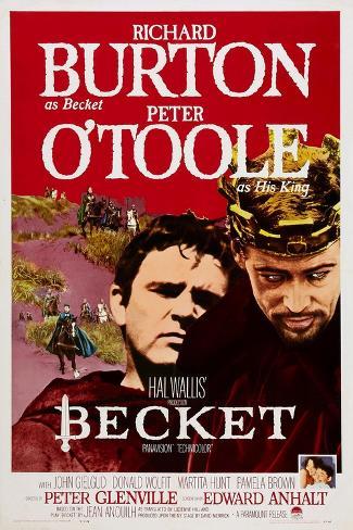 Becket, Richard Burton, Peter O'Toole, 1964 Reproduction d'art