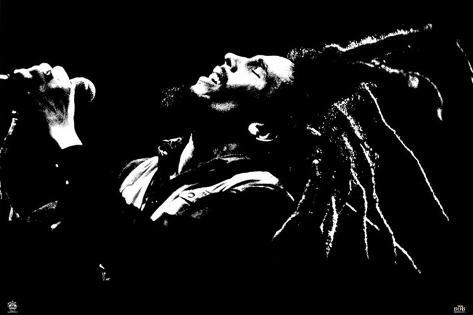 Bob Marley en concert en noir et blanc Poster