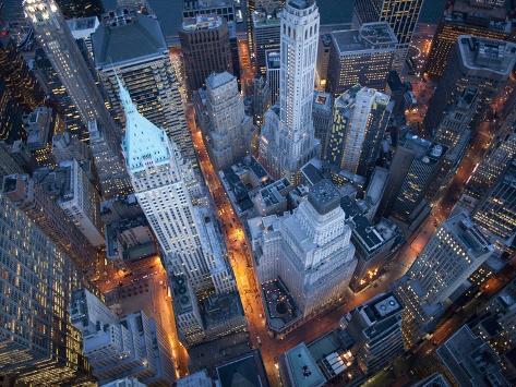 Vue aérienne de Wall Street, New York Reproduction photographique