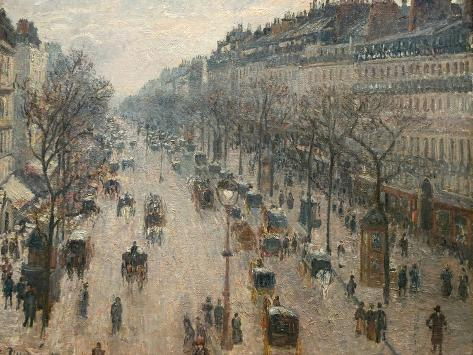 The Boulevard Montmartre on a Winter Morning Reproduction photographique
