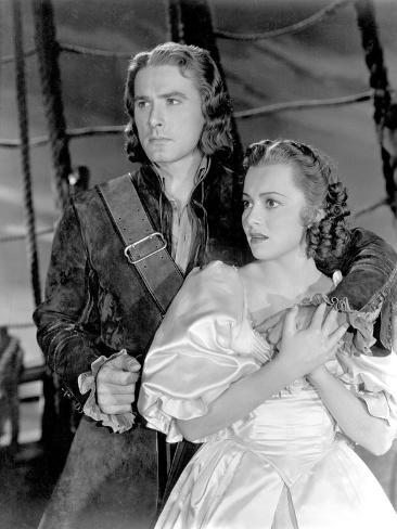 Captain Blood, Errol Flynn, Olivia De Havilland, 1935 Photographie