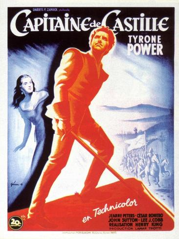 Captain From Castile, French Movie Poster, 1947 Reproduction d'art