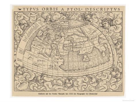 Carte de Bâle - Suisse - représentant le monde connu au 2ème siècle Reproduction procédé giclée
