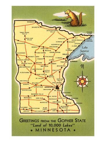 Carte du Minnesota Reproduction d'art