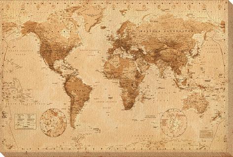 carte du monde antique toile tendue sur ch ssis sur. Black Bedroom Furniture Sets. Home Design Ideas