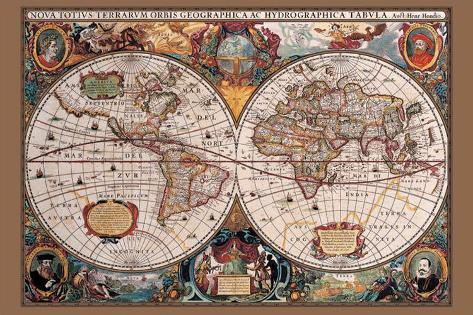 Carte du monde du 17ème siècle Posters sur AllPosters.fr