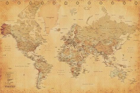 Carte du monde, vintage Poster sur AllPosters.fr
