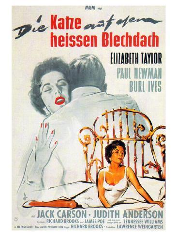 Cat on a Hot Tin Roof, German Movie Poster, 1958 Reproduction d'art