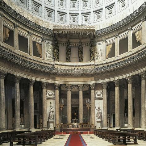 Central Nave of Basilica of San Francesco Di Paola, Naples, Campania, Italy Reproduction procédé giclée