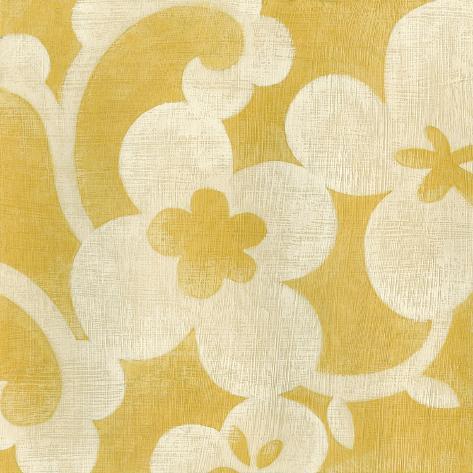 Motif d'un suzani d'Ouzbékistan jaune I Reproduction d'art