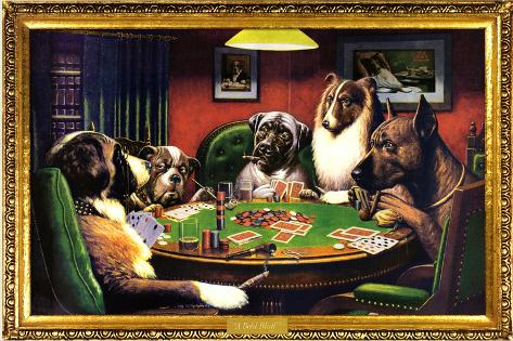 Chiens jouant au poker Poster