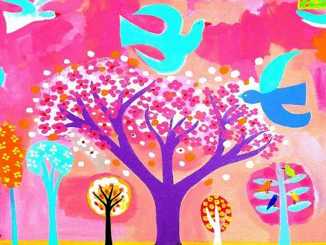 Neon Colored Birds and Flowering Trees Reproduction d'art