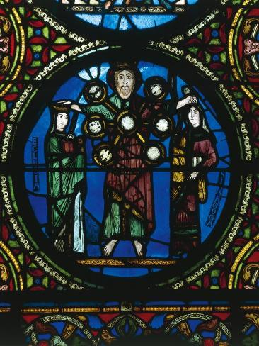 Christ Between Church and Synagogue, Detail of Stained-Glass Window Reproduction procédé giclée