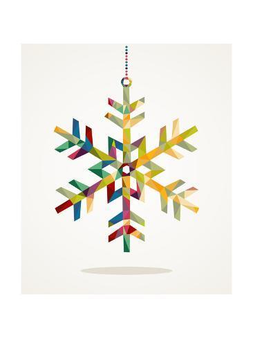 Geometric Christmas Snowflake Ornament Reproduction d'art