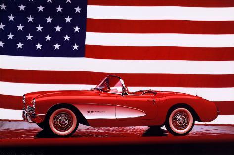 Corvette, 1957, Etats-Unis Drapeau Poster