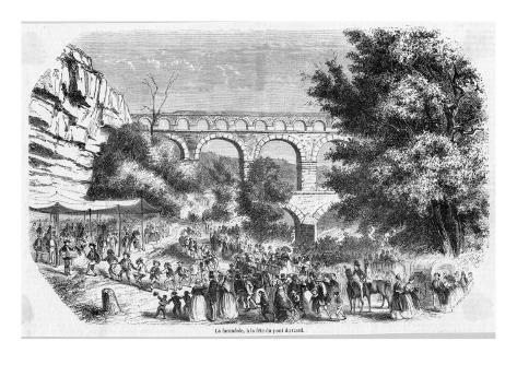 Dancing the Farandole at a Fete at the Pont Du Gard, Nimes Autre