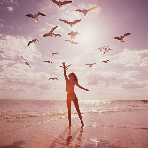 Woman Feeding Seagulls Reproduction photographique