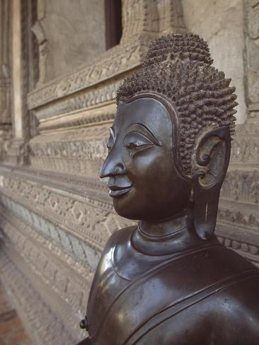 Detail of a Statue of the Buddhist Temple Wat Phrakeo in Vientiane, Laos Reproduction procédé giclée