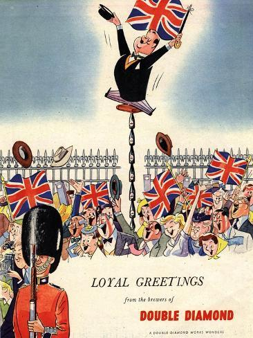 Double Diamond Coronation Union Jack Flags, UK, 1953 Reproduction procédé giclée