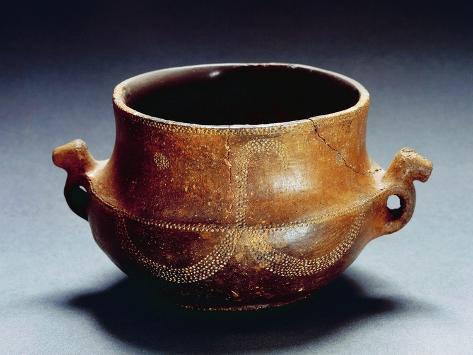 Double Handled Vase from Oliena, Sardinia Region, Italy, Prehistory, Bonu Ighinu Culture Reproduction procédé giclée