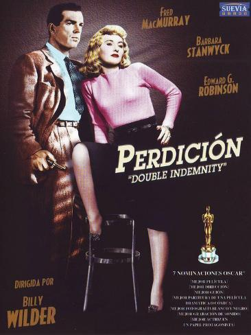 Double Indemnity, Spanish Movie Poster, 1944 Reproduction d'art