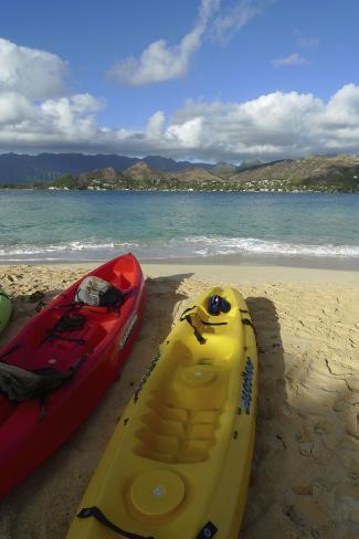 Kayak, Mokulua Island, Lanikai, Kailua, Oahu, Hawaii, USA Reproduction photographique