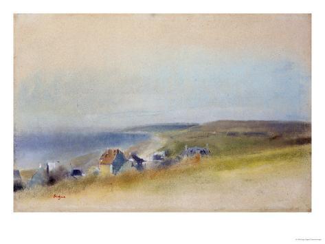 Houses on the Cliff Edge at Villers-Sur-Mer, 1869 Reproduction procédé giclée