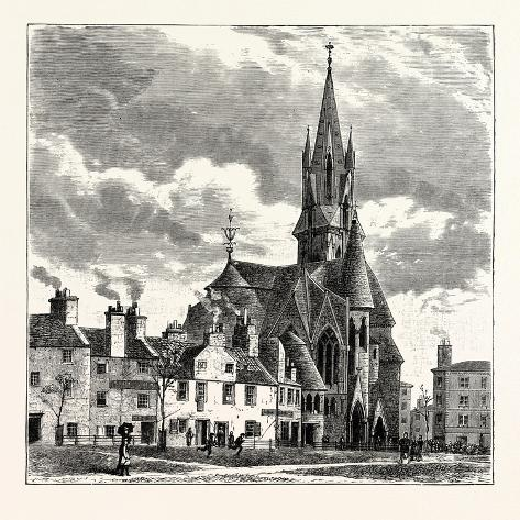 Edinburgh: Wright's Houses and the Barclay Church from Bruntsfield Links Reproduction procédé giclée