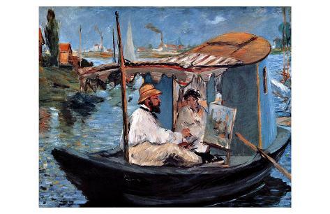 Claude Monet et sa femme dans son studio flottant Reproduction procédé giclée