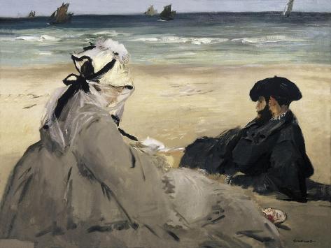 Sur la plage Reproduction d'art