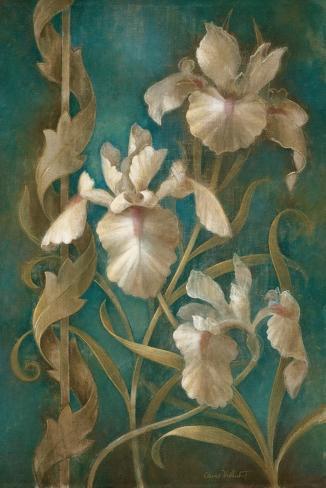 Irises on Teal Reproduction d'art
