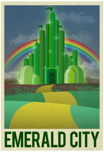 Emerald City Retro Travel Poster Poster