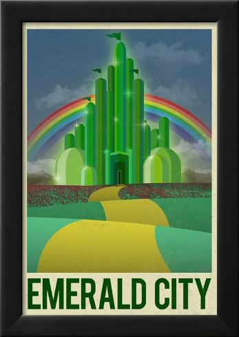 Emerald City Retro Travel Poster Poster en laminé encadré