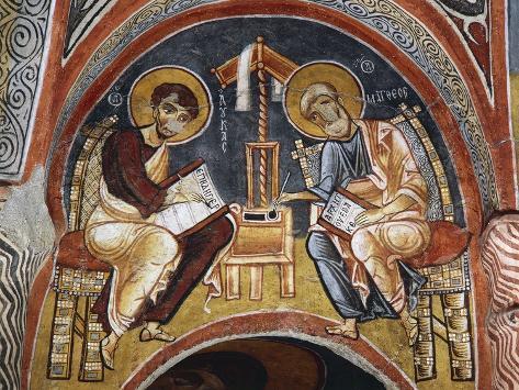 Evangelists Mark and John Writing Gospels, Karanlik Kilise Reproduction procédé giclée