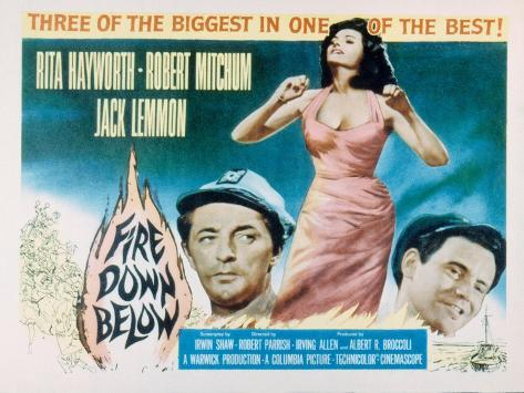 Fire Down Below, Robert Mitchum, Rita Hayworth, Jack Lemmon, 1957 Photographie