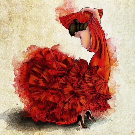 Flamenco del fuego i affiches sur - Dessin danseuse de flamenco ...