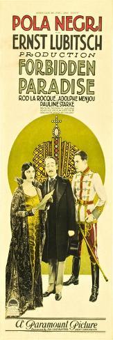 Forbidden Paradise, Pola Negri, Adolphe Menjou, Rod La Rocque, 1924 Reproduction d'art