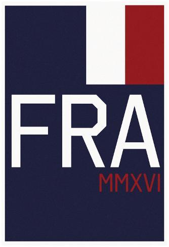 FRA MMXVI Vertical Navy Flag Fan Sign Poster