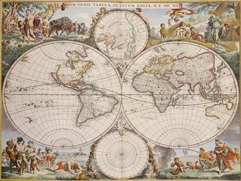 Map of the World, circa 1680 Reproduction procédé giclée