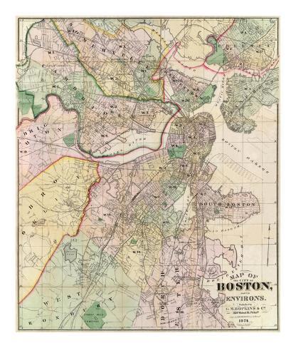 Carte de la ville de Boston et ses environs Reproduction d'art