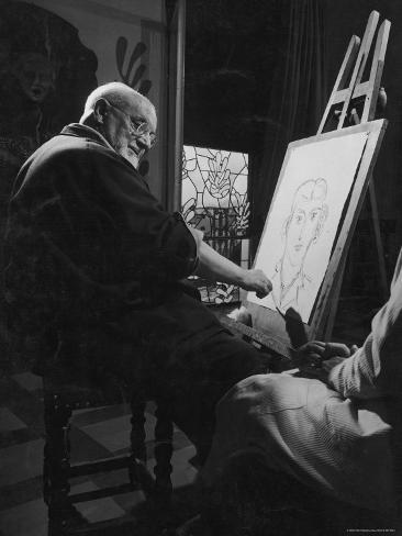 Henri Matisse at His Easel, Drawing from Live Model Reproduction photographique Premium