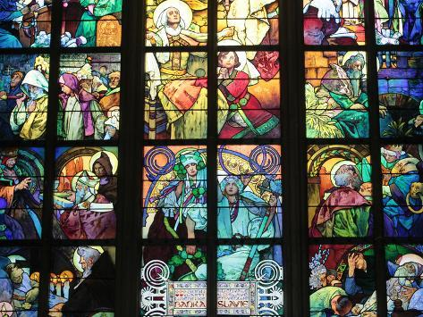 St Vitus's Cathedral, Stained Glass of St Cyril and Methodius, Alfons Mucha, Prague, Czech Republic Reproduction photographique