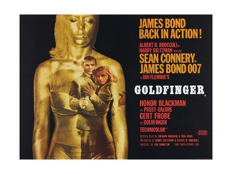 Goldfinger, Sean Connery, Honor Blackman, 1964 Reproduction procédé giclée