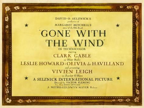 GONE WITH THE WIND, poster art, 1939 Reproduction d'art