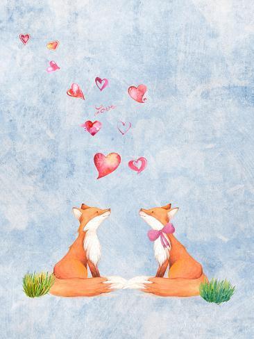 Love Fox Animal 3 Reproduction procédé giclée